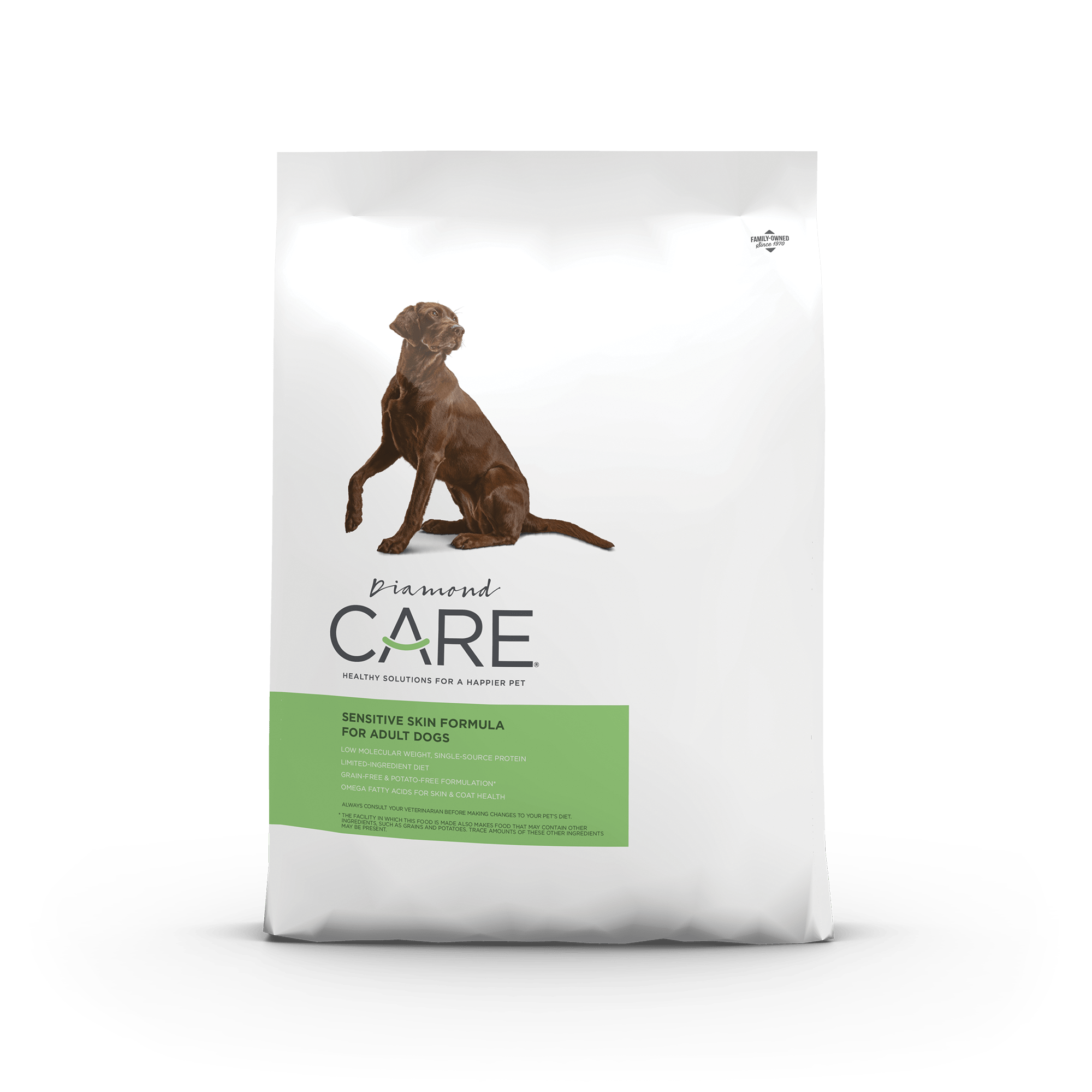 Diamond CARE Sensitive Skin Formula for Adult Dogs product packaging