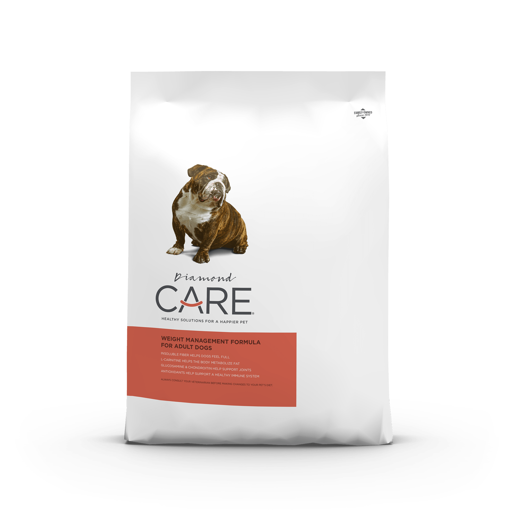 Diamond CARE Weight Management Formula for Adult Dogs product packaging