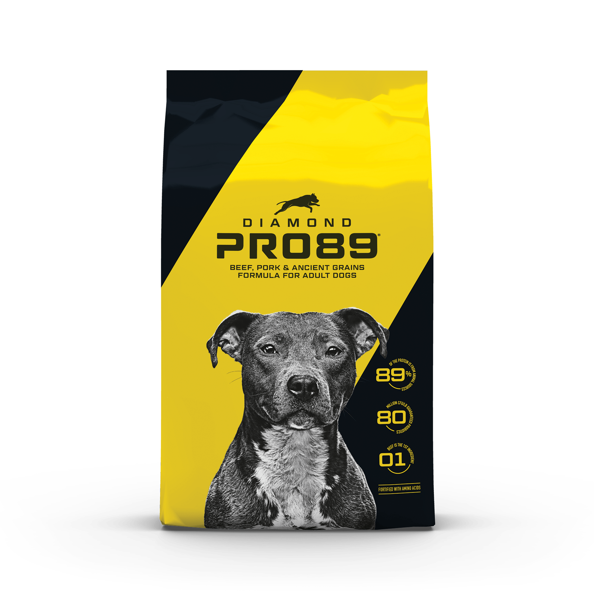 Diamond Pro89 Beef, Pork & Ancient Grains Formula for Adult Dogs product packaging